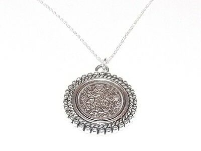 1957 60th Birthday / Anniversary sixpence coin Rim pendant plus 20inch SS chain