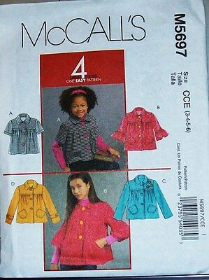 McCall's Pattern 5697 grls 4-6 Four Looks Yoked Unlined Jacket w Sleeve Options