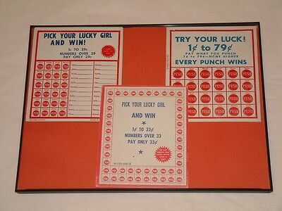 Vintage Punch Boards (3) - Framed - Unused - Pick Your Lucky Girl - Slot Machine
