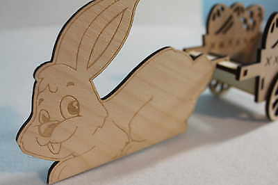 Easter Wood Craft Decoration Laser Cut Rabbit Truck Trolley Easter Eggs Baskets