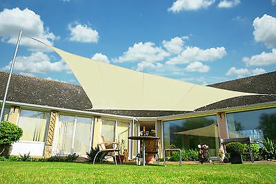 Kookaburra Ivory Shade Sail Sun Canopy Garden Patio Awning 98% UV & Waterproof