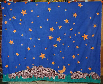 Vintage Pictorial Moon & Star Constellation Antique Quilt Top ~MOUNTAINS & TREES