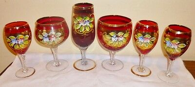 Antique Bohemian Ruby Crystal Glasses
