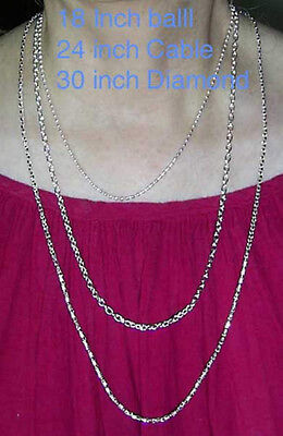 """1 Silver or Gold Heavy Electroplate CHAIN NECKLACE 18 24 & 30"""" Plated + o. color"""