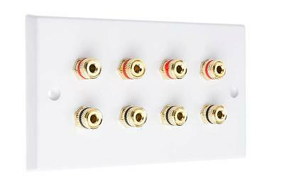 4.0 White Speaker Audio Wall Face Plate 4 Speakers or 2 Bi Wired SOLDER-LESS