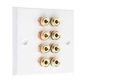 4.0 White Speaker Audio Wall Face Plate Solder-less