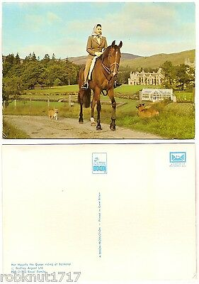 CPSM postcard animal dog horse Her Majesty the Queen riding BALMORAL Scotland A