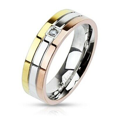 Stainless Steel Tri-Color Grooved 0.03 Carat CZ Band Ring Size 5-13
