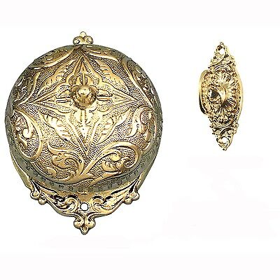Antique Replica Mechanical Fancy Victorian Rococo Twist Doorbell SET (Z183S3-PB)