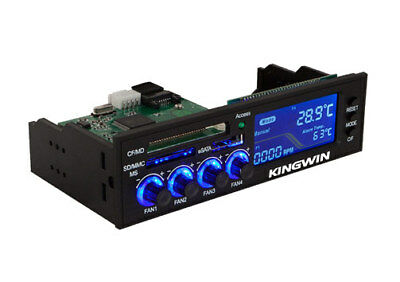 "Kingwin FPX-003 5.25"" Inch Four Fan Controller w/ Multi-Card Reader LED Display"