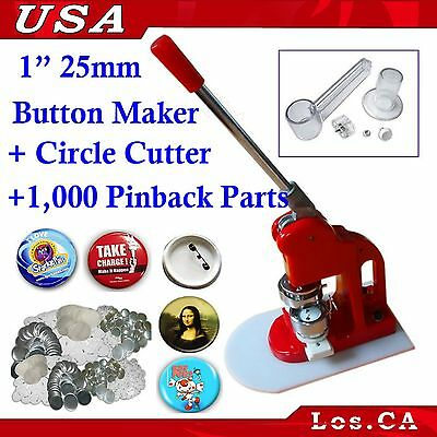 KIT!! 1Inch Badge Button Maker+Adjust Circle Cutter+1,000Set Pin Back Supplies