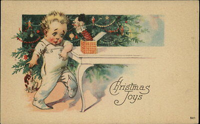 Christmas Child Jack-in-the-Box Toy Greeting c1910 Postcard