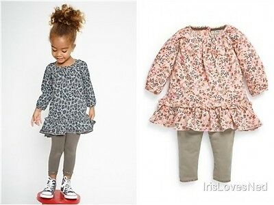 Baby & Girls NEW x Next Ditsy/Leopard Dress/Tunic Leggings Outfit - Ages 3m-6y