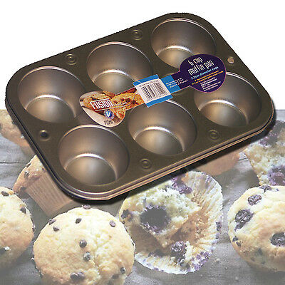 Non Stick Hardened Steel Muffin Cupcake Cake Baking Pan Deep Tray Tin Bakeware