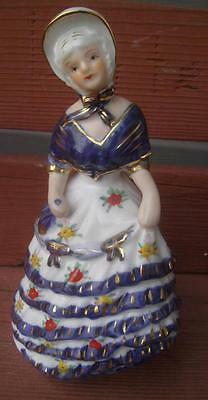 VINTAGE KPM COBALT BLUE & GOLD YELLOW RED FLOWER DRESS LADY FIGURINE CERAMIC