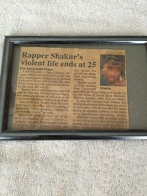 Authentic 1996 Tupac 2Pac Shakur Death Announcement Newspaper Article Death Row