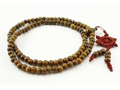 Fragrant 108 8mm Green Sandalwood Prayer Beads Dharma Wheel Mala Necklace 32""