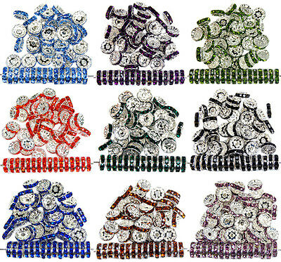 100pcs CZ Crystal Rhinestone Silver Rondelle Spacer Beads 4mm 5mm 6mm 8mm 10mm