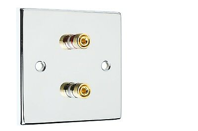 Polished Chrome Speaker Wall Face Plate Two Binding Posts Banana Plug