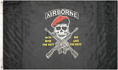 2x3 Army Airborne Mess With The Best Die Like The Rest Red Hat Flag 2/'x3/'