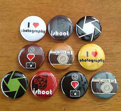 Photography Pinback Button Set of 10 Photography Lover Buttons, Camera, Photo
