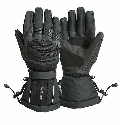 Infinity Winter Waterproof Leather &textile Motorcycle Motorbike  Gloves Thermal