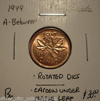 Canada George VI 1949 A Between; Cacoon & Rot Dies Small Cent - BU