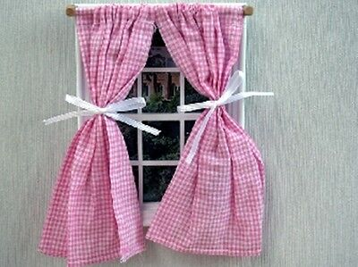 Dolls House Miniature 1/12th Scale Gingham Curtains Blue or Pink Available
