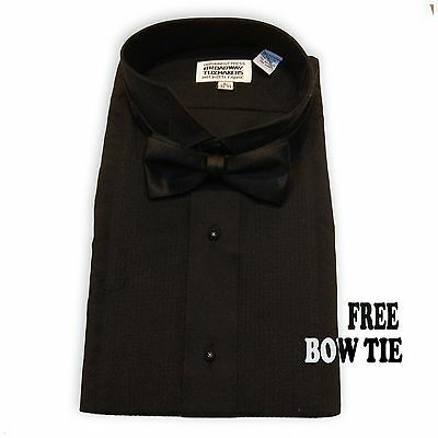Mens Black Pleated Tuxedo Shirt, Formal Wing Collar FREE BOW TIE NEW