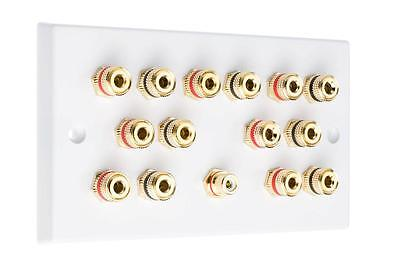 7.1 White Speaker Audio Wall Face Plate Solder-less