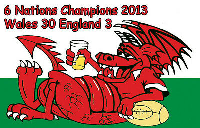 Welsh Dragon  6 Nations Rugby Champions 2013 Fridge Magnet