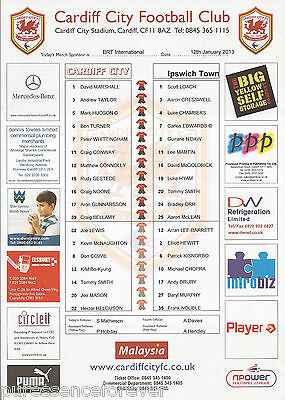 CARDIFF CITY v IPSWICH TOWN (npower Championship 12.1.2013) Football Team Sheet