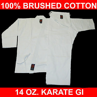 Size 6 WHITE 14 Oz. Gi Made of 100% Brushed Cotton Heavy Weight Karate Uniform