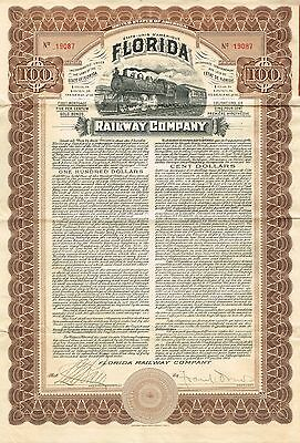 USA FLORIDA RAILWAY COMPANY GOLD BOND stock certificate 1909