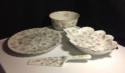 4 Corona Fine China Japan Floral Serving Bowl/Candy Dish/Cake Plate/ Cake server
