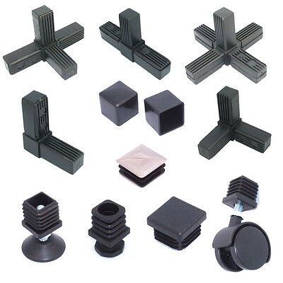 Square Aluminium Steel Tube / Pipe Metal Box Section Plastic End Caps Fittings