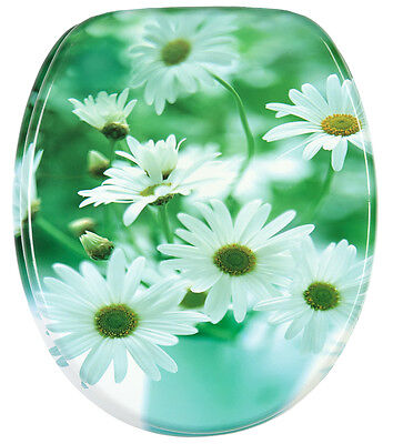 Soft Close Printed Wc Toilet Seat | Stable Hinges | Slow Close | Daisies