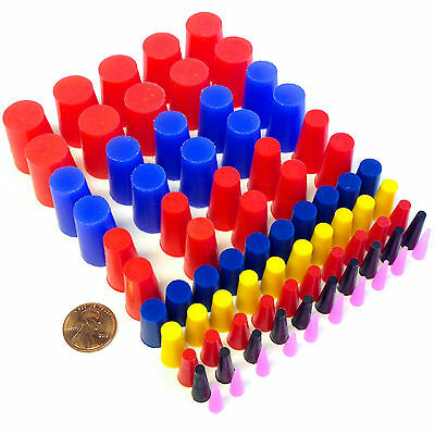 "80pc 1/16"" - 3/4"" High Temp Silicone Rubber Tapered Plug Kit Powder Coat Paint"