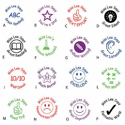 Teacher/School stamp Personalised Self Inking Rubber Assorted Designs & Colours