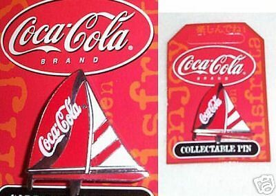 #t22.  Coca Cola  Coke Collectable Pin - Red/white Yacht