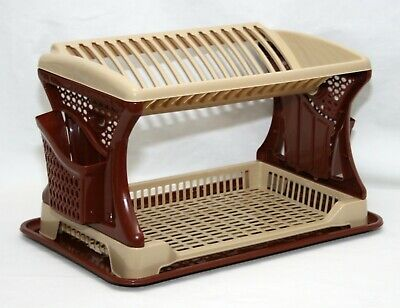 Brown Plastic 2 Layer Dish Drainer Rack Utensil Cutlery Draining Kitchen Home