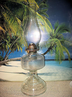 OLD ANTIQUE TALL EMBOSSED FOOTED GLASS OIL KEROSENE LAMP WITH BURNER AND CHIMNEY
