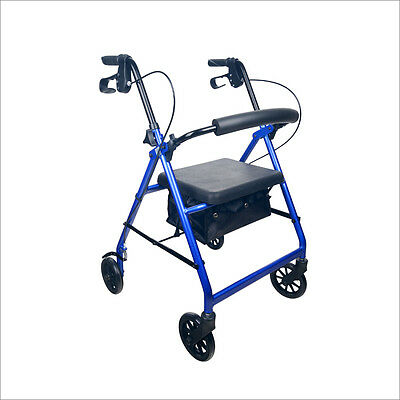 HOT DEAL!    ROLLATOR 4 WHEEL WALKER with BRAKES * Red & Blue