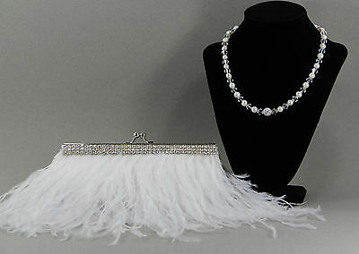HANDMADE Feather Bridal Clutch, Bridal Clutch, Evening Bag,with Pearl Necklace