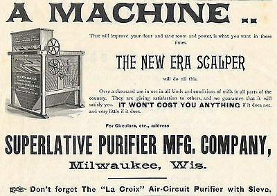 Big 1893 Superlative Purifier Scalper Machine For Grist Mill Ad Milwaukee Wi
