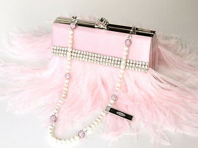 Baby Pink Feather Bridal Clutch, Bridal Clutch, Evening Bag,with Pearl Necklace