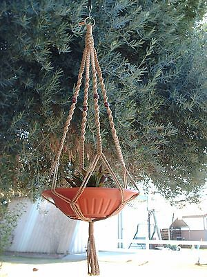 MACRAME PLANT HANGER 44in Deluxe - Beaded - Sand Cord (CHOOSE COLOR)