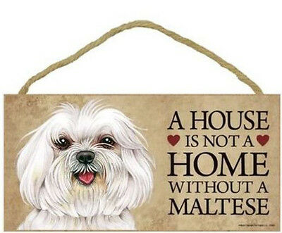 "House is Not a Home without a Maltese Sign Plaque Dog 10"" x 5""  gift"
