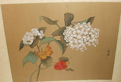 Japanese Green & White Floral Watercolor On Silk Painting Signed