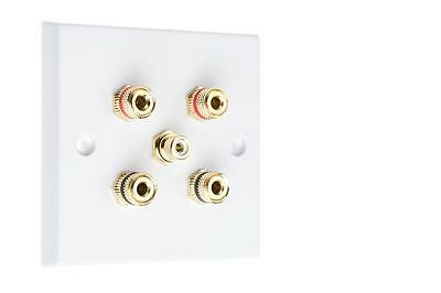 2.1 White Speaker Audio Wall Face Plate Solder-less